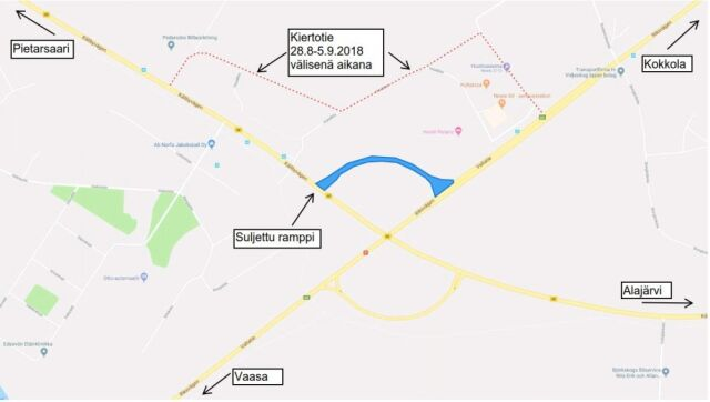 Tiedoite liikennejärjestelyn tilapäisestä muutoksesta: Valtatie 8:n ramppi Kolpintielle